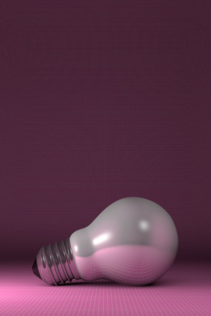arbitrary: Arbitrary white glossy light bulb lying on pink squared background Stock Photo