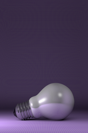 arbitrary: Arbitrary white glossy light bulb lying on purple squared background