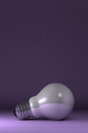 arbitrario: Blanco Arbitraria brillante bombilla se extiende sobre fondo cuadrado púrpura