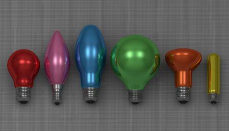 arbitrario: Varios focos brillantes multicolores mentir sobre fondo cuadrado gris, vista frontal Foto de archivo