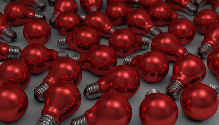 arbitrary: Many arbitrary red glossy light bulbs lying on gray squared background