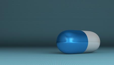 pilule: Blanca y la p�ldora azul que miente en el fondo cuadrado azul con copia espacio, de cerca Foto de archivo
