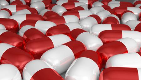 pilule: Blanco y rojo pastillas situadas cerca uno del otro, de cerca