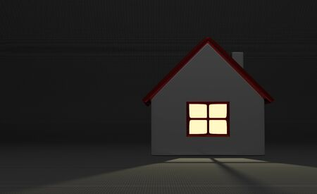 mistery: Simple white cottage with shining window in darkness on gray background