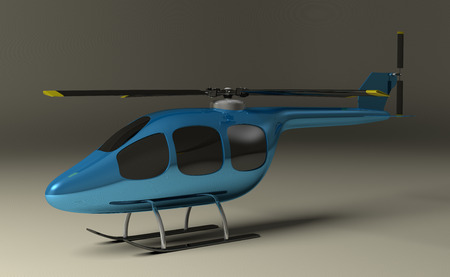 tinted: Blue helicopter with black tinted windows on gray squared background, perspective view Stock Photo