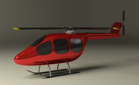 Red helicopter with black tinted windows on gray squared background, perspective view photo