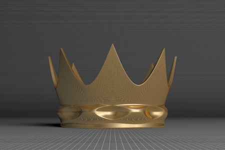 luxuriance: Golden crown on gray squared background, front view