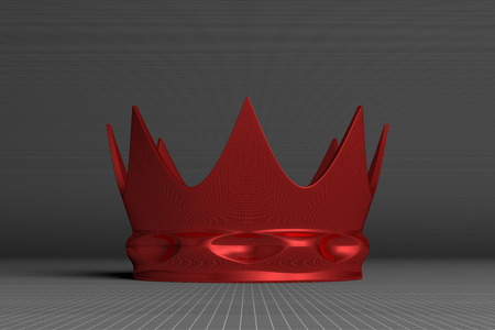 Red crown on gray squared background, front view