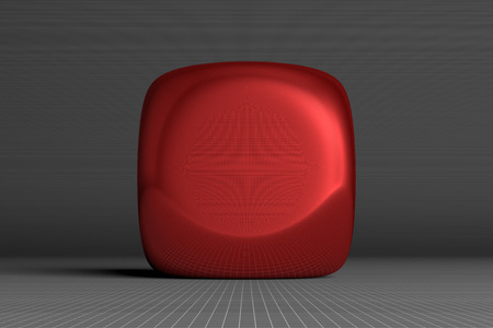 roundish: Red glossy rounded cube on gray squared background, front view
