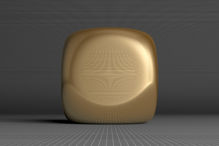 rounded: Golden glossy rounded cube on gray squared background, front view Stock Photo