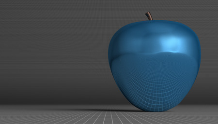 reflective: Blue glossy reflective apple on gray squared background