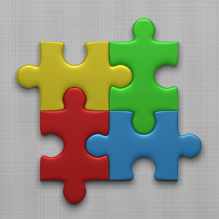 red puzzle piece: Four connected multicolor glossy puzzle pieces lying on gray squared background