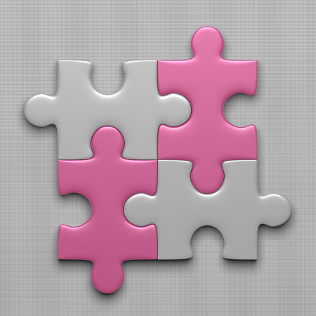 missing link: Connected white puzzle pieces and pink ones lying on gray background