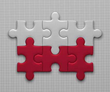 assembled: Polish flag assembled of puzzle pieces on gray background Stock Photo