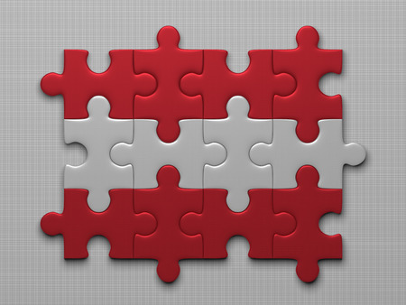 assembled: Austrian flag assembled of puzzle pieces on gray background