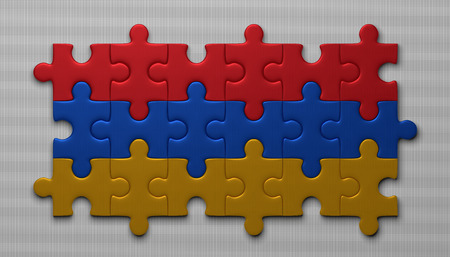 armenian: Armenian flag assembled of puzzle pieces on gray background