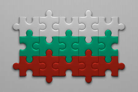 bulgarian: Bulgarian flag assembled of puzzle pieces on gray background
