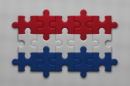 netherlandish: Dutch flag assembled of puzzle pieces on gray background