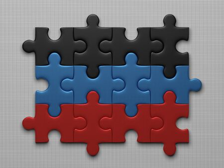 assembled: Donetsk Peoples Republic flag assembled of puzzle pieces on gray background Stock Photo