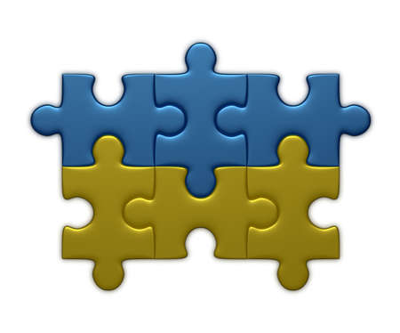 assembled: Ukrainian flag assembled of puzzle pieces isolated on white background