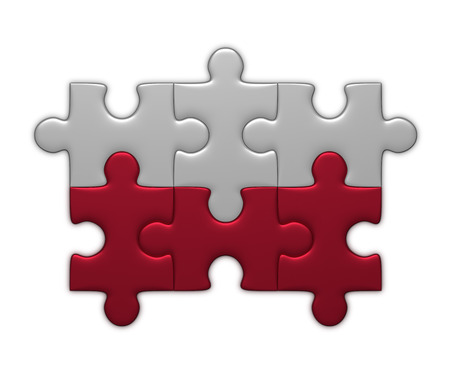 bandera de polonia: Bandera polaca ensamblado de piezas de un rompecabezas aislados sobre fondo blanco