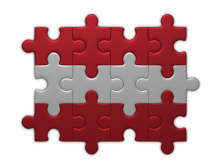 assembled: Austrian flag assembled of puzzle pieces isolated on white background