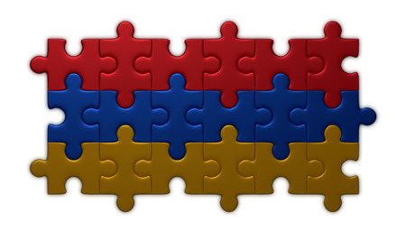 armenian: Armenian flag assembled of puzzle pieces isolated on white background Stock Photo