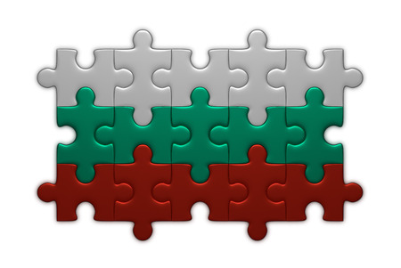 assembled: Bulgarian flag assembled of puzzle pieces isolated on white background