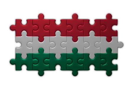 assembled: Hungarian flag assembled of puzzle pieces isolated on white background Stock Photo