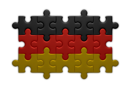 assembled: German flag assembled of puzzle pieces isolated on white background Stock Photo
