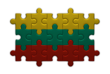 lithuanian: Lithuanian flag assembled of puzzle pieces isolated on white background