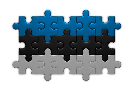 estonian: Estonian flag assembled of puzzle pieces isolated on white background Stock Photo