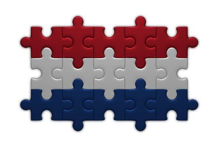 netherlandish: Dutch flag assembled of puzzle pieces isolated on white background