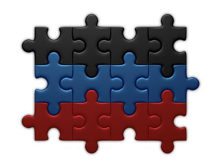 complete solution: Donetsk Peoples Republic flag assembled of puzzle pieces isolated on white background Stock Photo