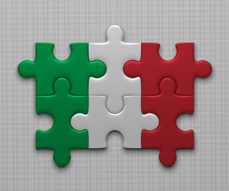 assembled: Italian flag assembled of puzzle pieces on gray background Stock Photo