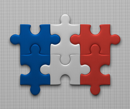 complete solution: France flag assembled of puzzle pieces on gray background Stock Photo