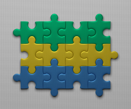 assembled: Gabon flag assembled of puzzle pieces on gray background Stock Photo