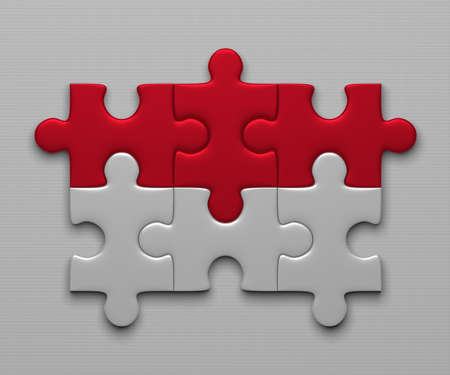 complete solution: Indonesia flag assembled of puzzle pieces on gray background