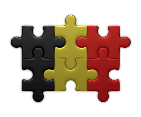 assembled: Belgian flag assembled of puzzle pieces isolated on white background