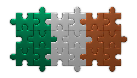 assembled: Irish flag assembled of puzzle pieces isolated on white background Stock Photo
