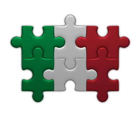 assembled: Italian flag assembled of puzzle pieces isolated on white background