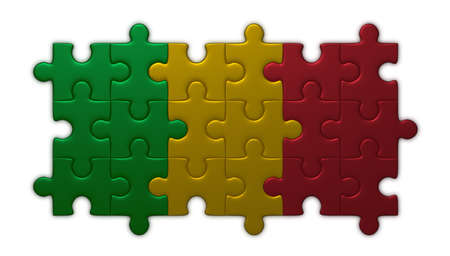 assembled: Mali flag assembled of puzzle pieces isolated on white background Stock Photo
