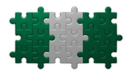 assembled: Nigeria flag assembled of puzzle pieces isolated on white background