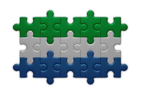 assembled: Sierra Leone flag assembled of puzzle pieces isolated on white background