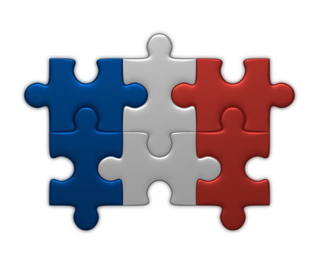 assembled: France flag assembled of puzzle pieces isolated on white background