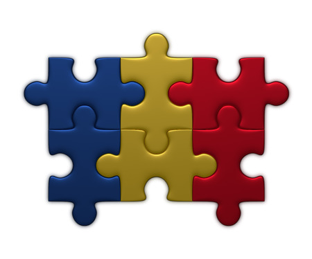 assembled: Chad flag assembled of puzzle pieces isolated on white background Stock Photo