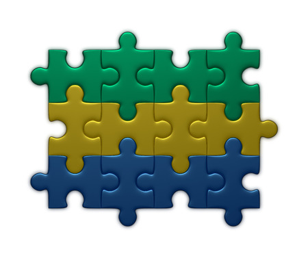 assembled: Gabon flag assembled of puzzle pieces isolated on white background Stock Photo