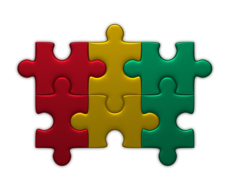 complete solution: Guinea flag assembled of puzzle pieces isolated on white background Stock Photo