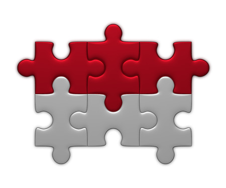 complete solution: Indonesia flag assembled of puzzle pieces isolated on white background