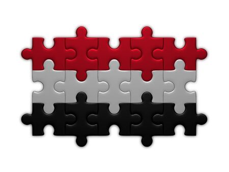 assembled: Yemen flag assembled of puzzle pieces isolated on white background